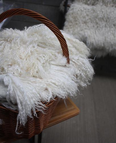 A baseket of Angora Goats skin